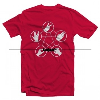 T-shirt The Big Bang Theory - Pierre, papier, ciseaux, lézard, Spock